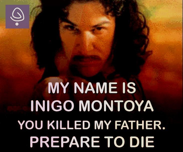 Hello, my name is Inigo Montoya. You killed my father. Prepare to die
