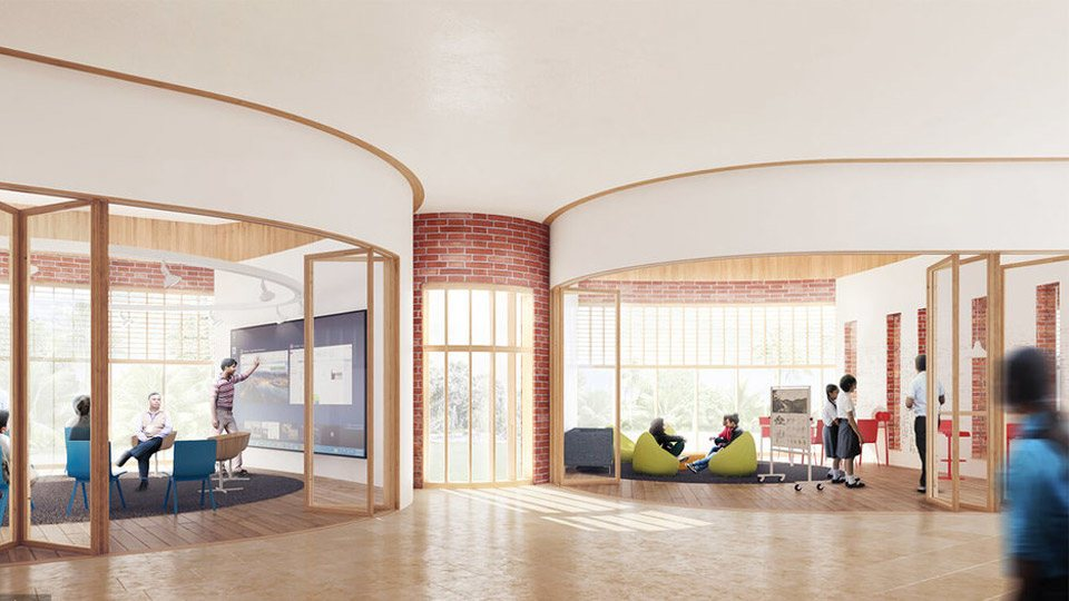 من تصاميم مدرسة (ريفرباند) الهندية المقرر إنشاؤها