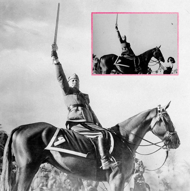 الدكتاتور الفاشي الإيطالي (بينيتو موسوليني) وهو يمتطي حصانه