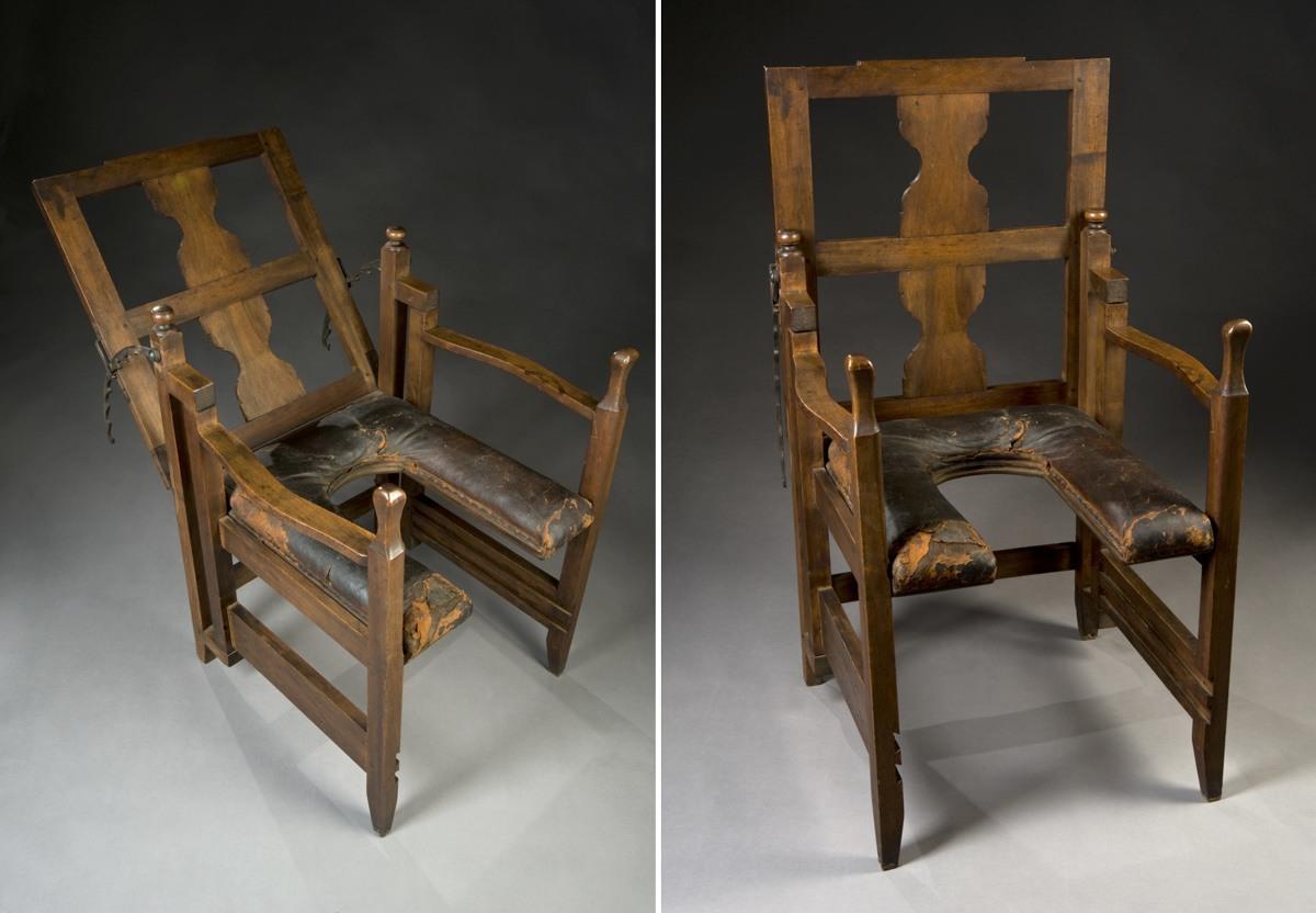 كرسي ولادة قابل لتعديل المسند – نهاية القرن الثامن عشر حتى بداية القرن التاسع عشر