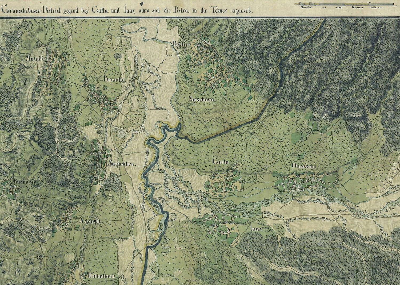 خريطة تبرز منطقة الصراع بين إمبراطورية (هابسبورغ) والإمبراطورية العثمانية، النهر في الوسط هو نهر الدانوب.