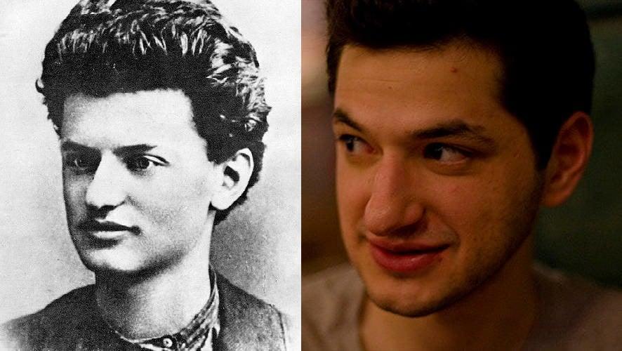 صورة للممثل والكاتب والمخرج والمنتج الأمريكي (بن شوارتز)، الذي ولد في 15 سبتمبر 1981. وصورة السياسي الثوري السوفياتي (ليون تروتسكي)الذي ولد في 7 نوفمبر 1879 وتوفي في 21 أغسطس 1940.