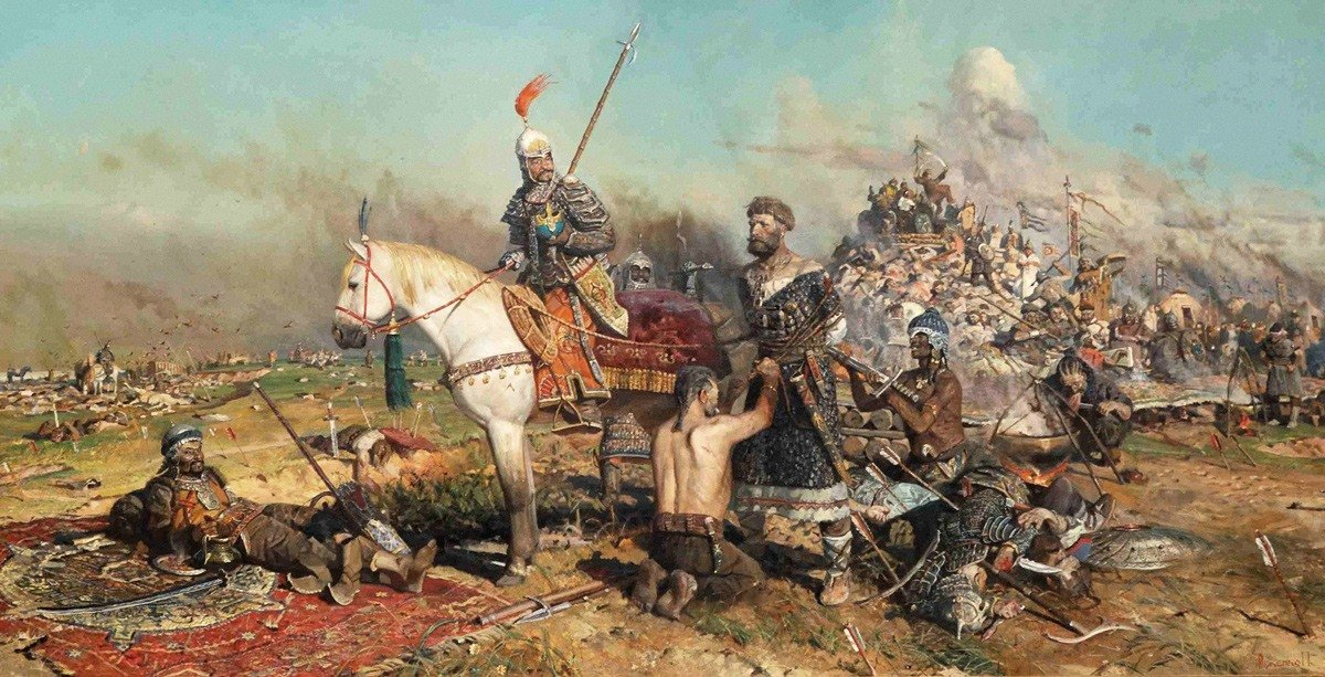 الجنرالان المغوليات (سوبوتاي) و(جيبي) يستريحان بعد نصرهما، بينما يقف بين أيديهما اليقائد (مستيسلاف الثالث).