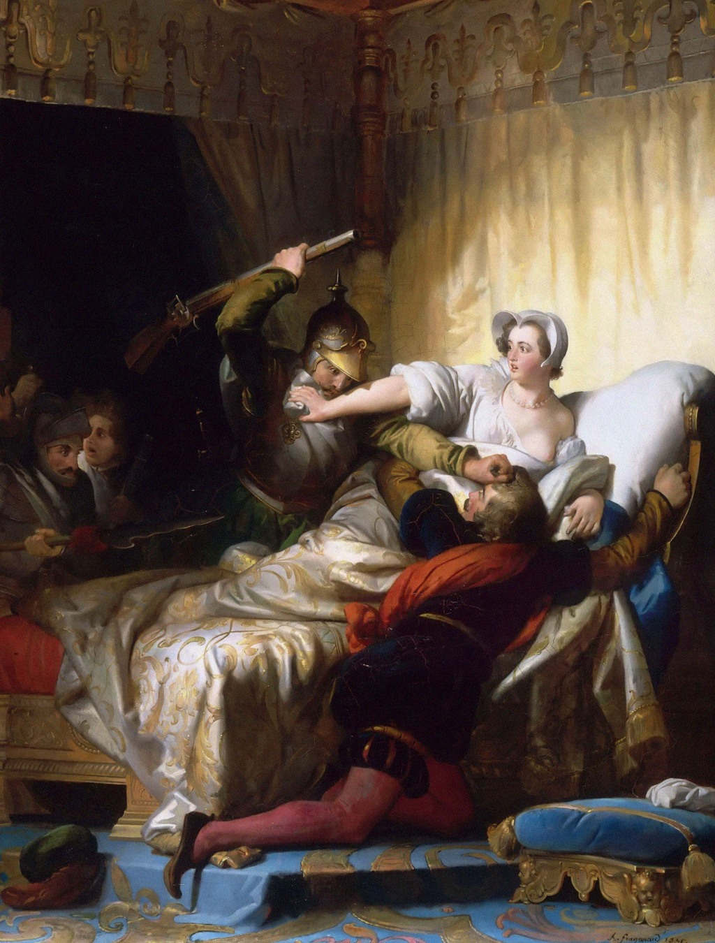 لوحة لـ ألكسند فراغونار عام 1836 بعنوان «مشهد من مذبحة القديس بارتولوميو»، وتظهر مارغرت ملكة فرنسا المستقبلية، محاولة حماية