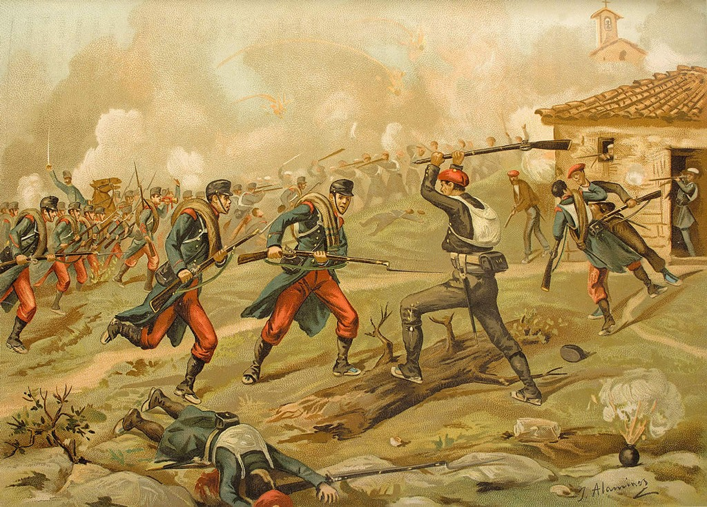 لوحة تصور الحرب الأهلية الكولومبية