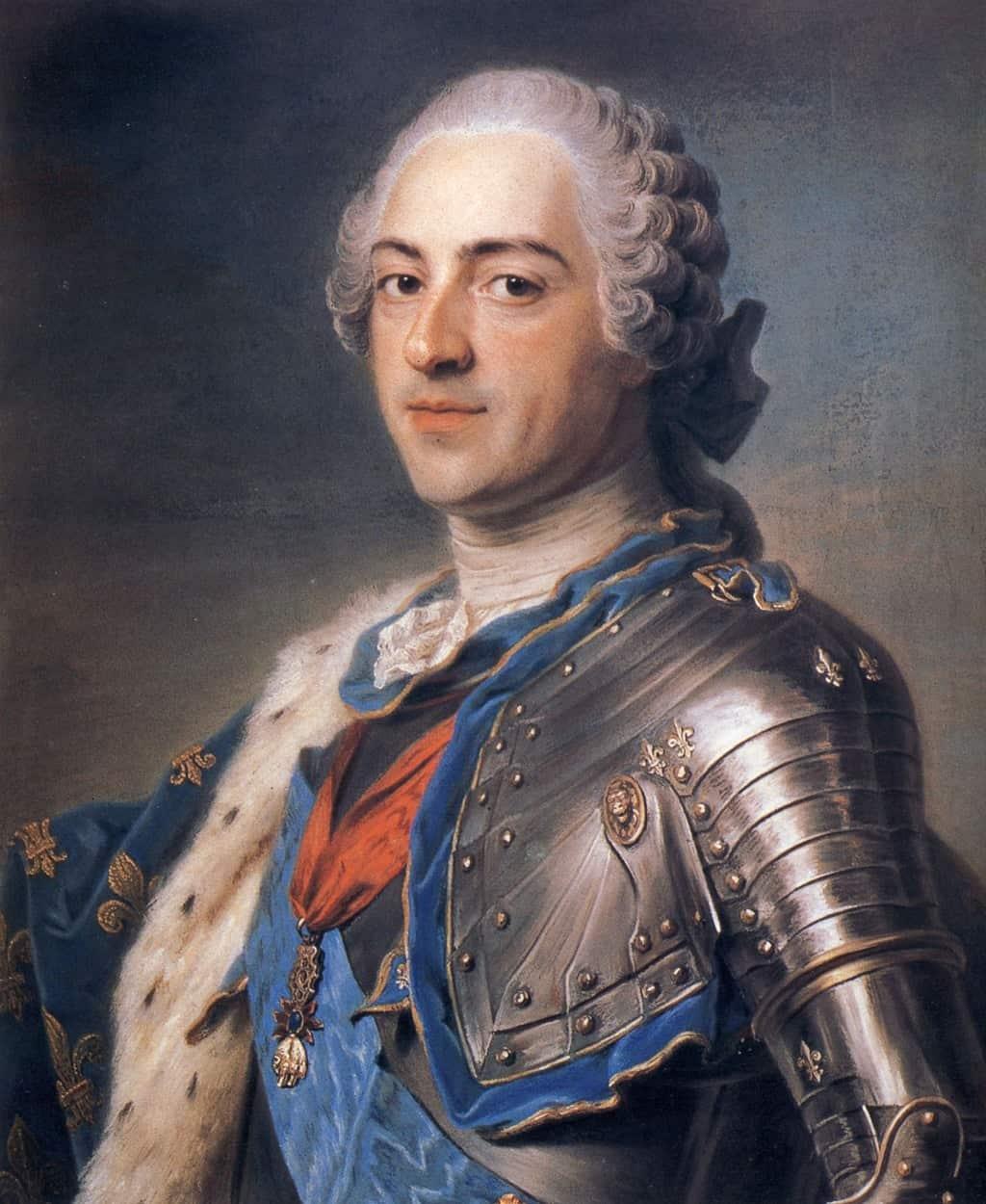 صورة لويس الخامس عشر ملك فرنسا، بريشة موريس كوينتين دي لا تور (حوالي 1748). ويكيميديا كومونز