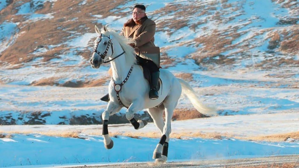 كيم جونغ أون ممتطياً حصانه