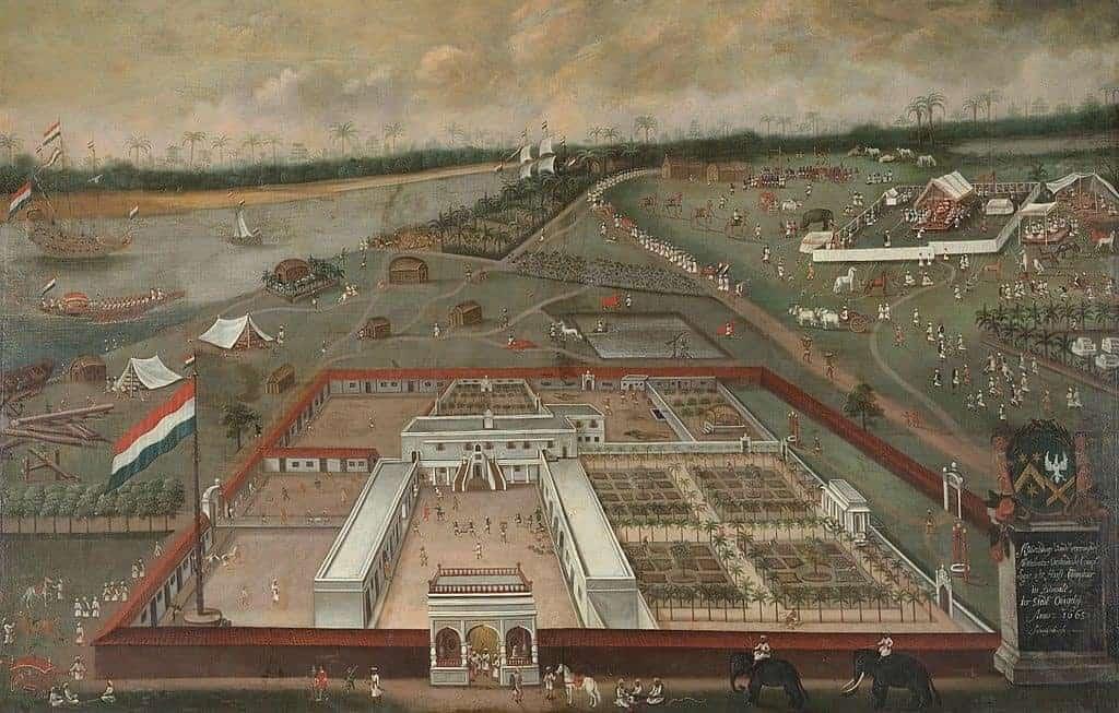 مستوطنة هولندية محصنة ومركز تجاري على نهر الغانج في البنغال أواخر القرن السابع عشر. ويكيميديا