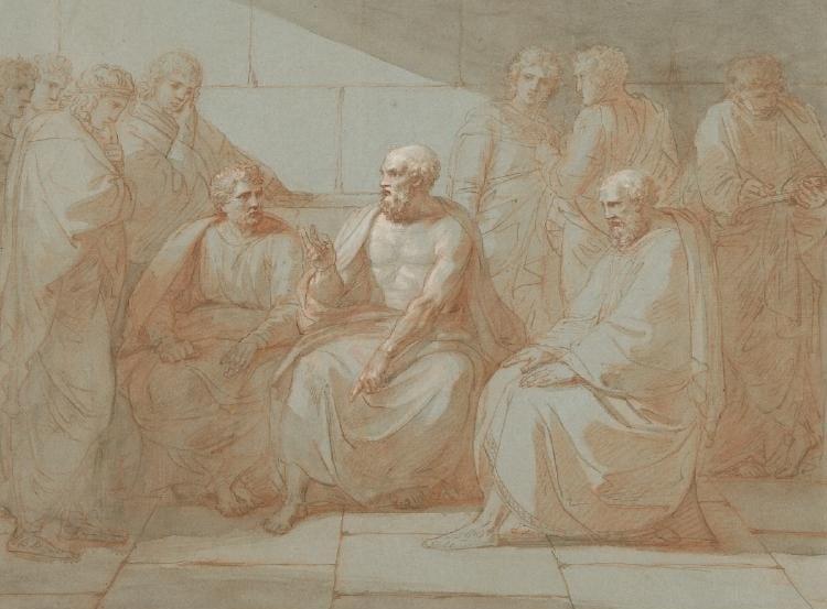 سقراط وهو يخاطب أتباعه.